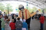 Eugene the Giant Parade Puppet talking with his fans