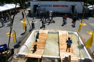 Ariel shot of Wet Swing Set built by TekVenture Makers that premiered at the 2012 Faire.